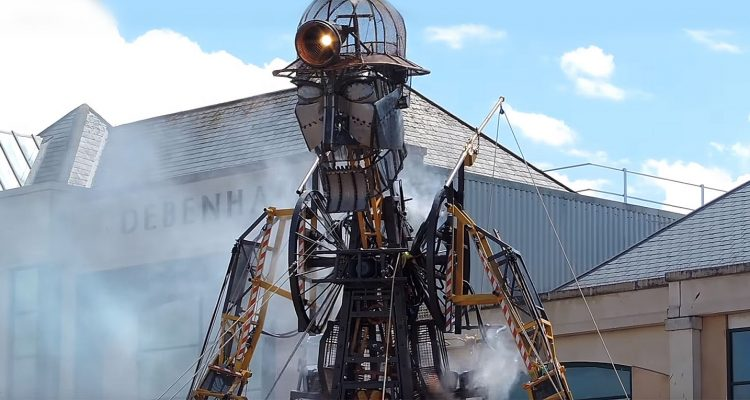 The Man Engine rises in Truro, Cornwall