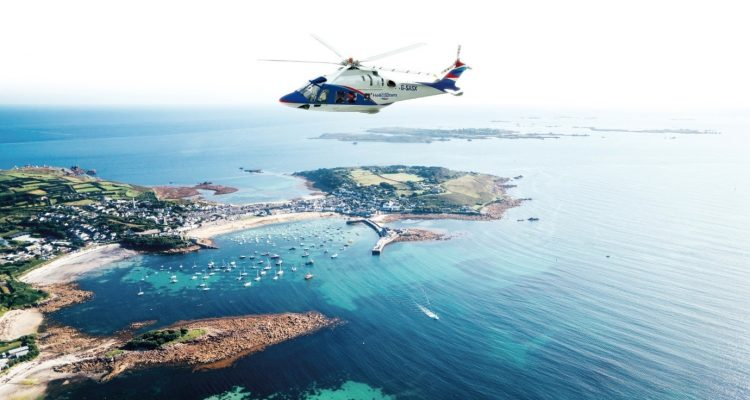Isles of Scilly helicopter service announcement.